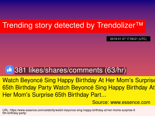 Watch Beyonc Sing Happy Birthday At Her Moms Surprise 65th Party PartyWatch