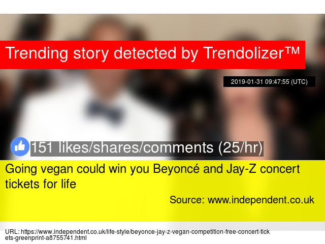 Going vegan could win you Beyoncé and Jay-Z concert tickets for life