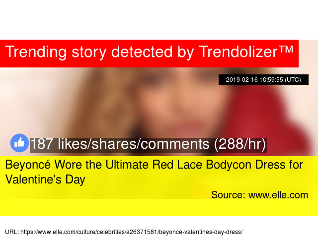 Beyoncé Wore the Ultimate Red Lace Bodycon Dress for Valentine s Day - Stats ee53ef8cc